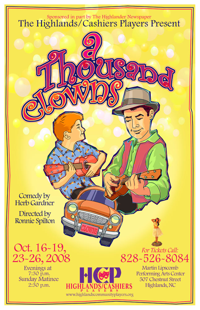 A Thousand Clowns Poster_Highlands Community Players_Highlands, NC_designed by Lonnie Busch