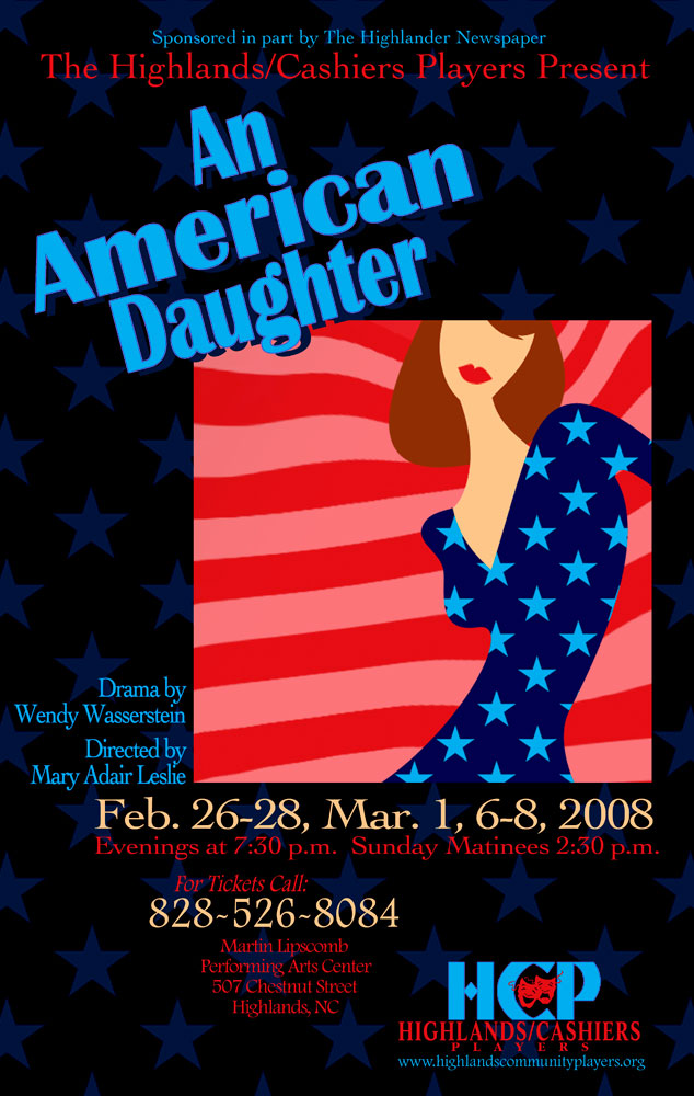 An American Daughter Poster_Highlands Community Players_Highlands, NC_designed by Lonnie Busch