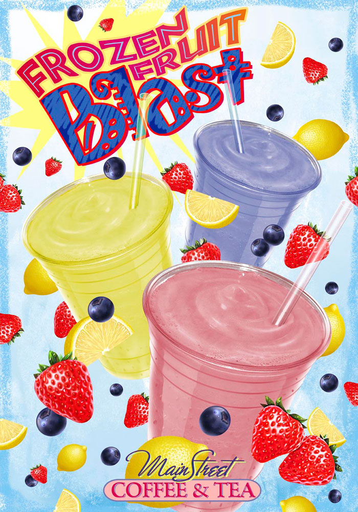 Frozen Fruit Blast In-Store Poster_Mainstreet Coffee & Tea_Franklin, North Carolina_designed/illustrated by Lonnie Busch