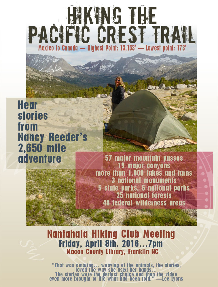Hiking the PCT Ad/Promo_Nancy Reeder_Franklin, NC_designed by Lonnie Busch