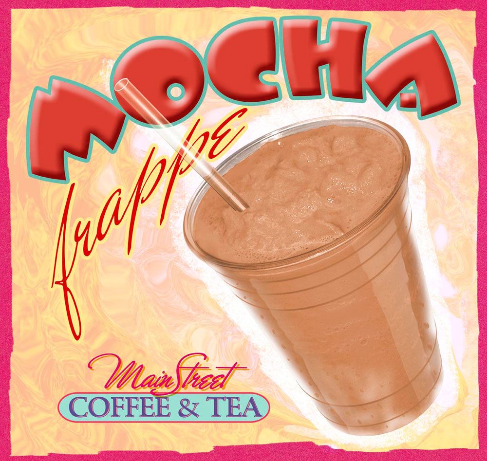 Mocha Frappe In-Store Promo_Mainstreet Coffee & Tea_Franklin, North Carolina_designed/illustrated by Lonnie Busch