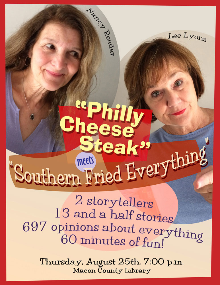 Philly Cheese Steak Storytelling Event Poster_Franklin, NC_designed by Lonnie Busch