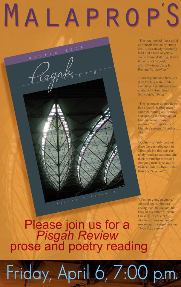 Pisgah Review Promo_Malaprops Event_Asheville, NC_designed by Lonnie Busch