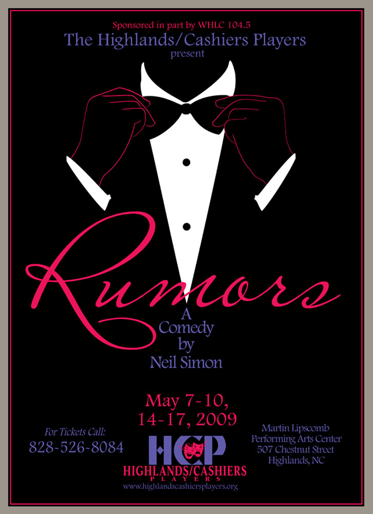 Rumors Poster_Highlands Community Players_Highlands, NC_designed by Lonnie Busch