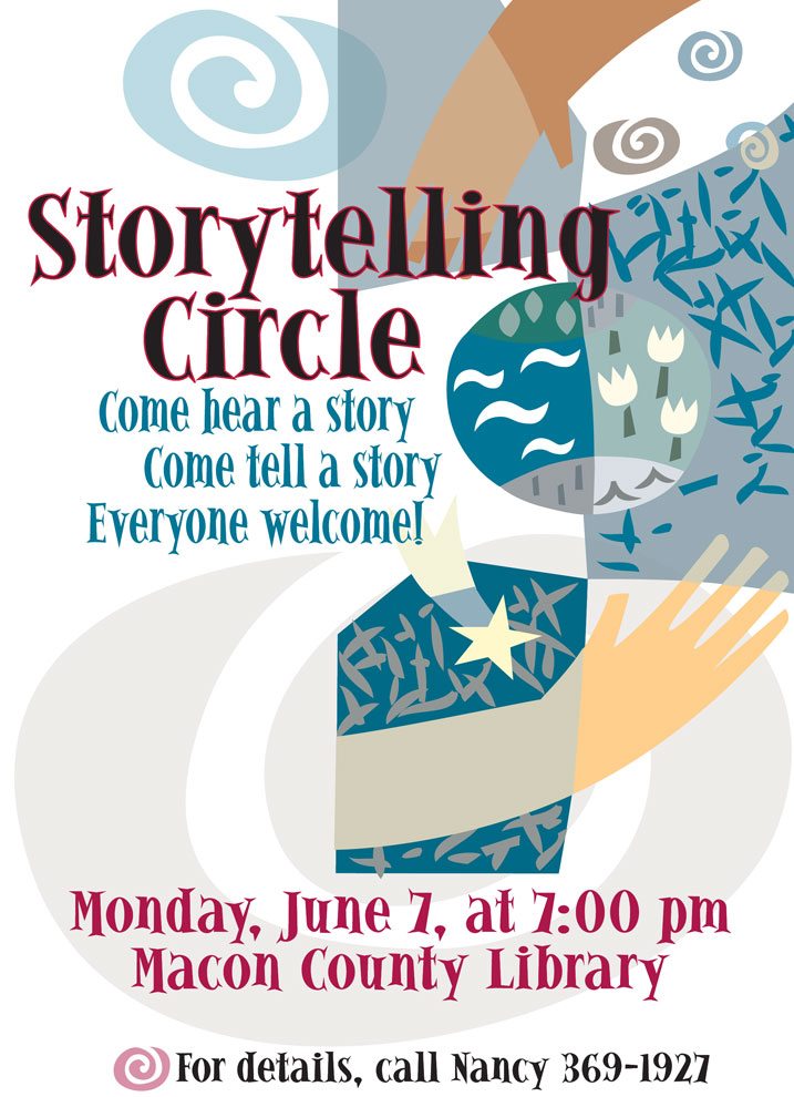 Storytelling Circle Promo Poster_Franklin, NC, designed by Lonnie Busch