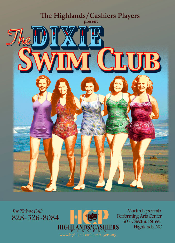 The Dixie Swim Club Poster_Highlands Community Players_Highlands, NC_designed by Lonnie Busch