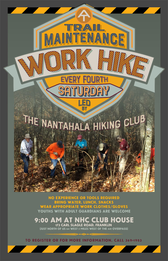Trail Maintenance Work Hike Poster_Nantahala Hiking Club_Franklin, NC_designed by Lonnie Busch