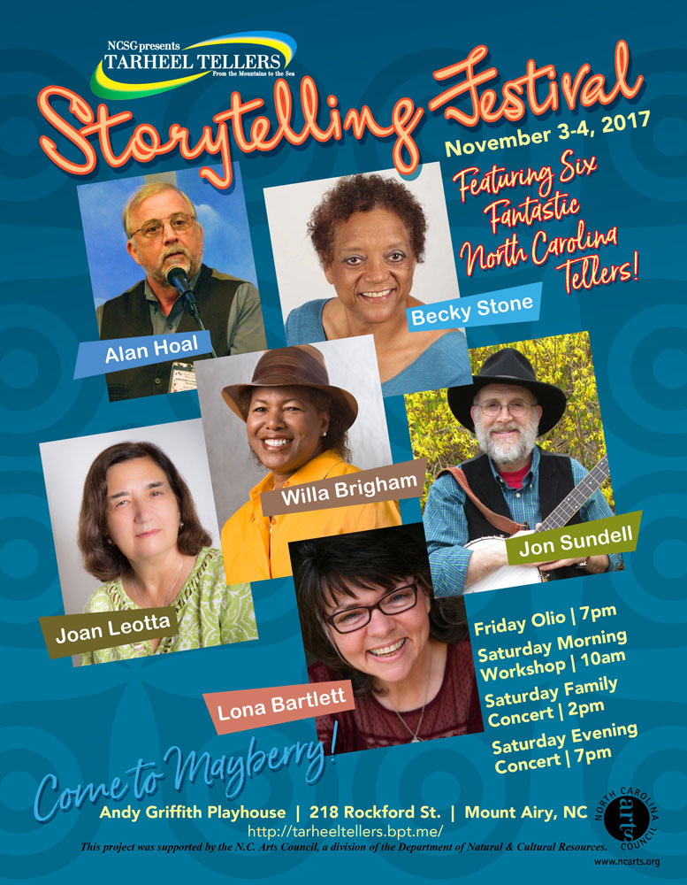Storytelling Festival Poster_NCSG Tarheel Tellers_Mount Airy, NC_designed by Lonnie Busch