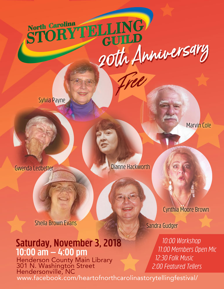 20th Anniversary Poster_NC Storytelling Guild_Hendersonville, North Carolina_designed by Lonnie Busch