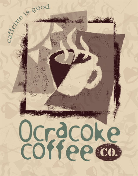 Ocracoke Coffee Co. Logo—Ocracoke, North Carolina_designed by Lonnie Busch_Crater Line Design